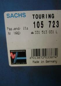 105723 original Sachs Stossdämpfer für VW, div. Passat u. Sanrtana Modelle,  Stoßdämpfer-Befestigungsart oben Stift, unten Auge, Stoßdämpfer-System Zweirohr, Kenngröße SXOV26X215A
