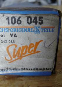 106045 original Sachs Super Touring Gasdruck-Stossdämpfer für Ascona B, Kadett C, C-Caravan, C-Coupe, Manta B, Manta B-CC jeweils div. Modelle. Einrohr, oben Stift, unten Auge